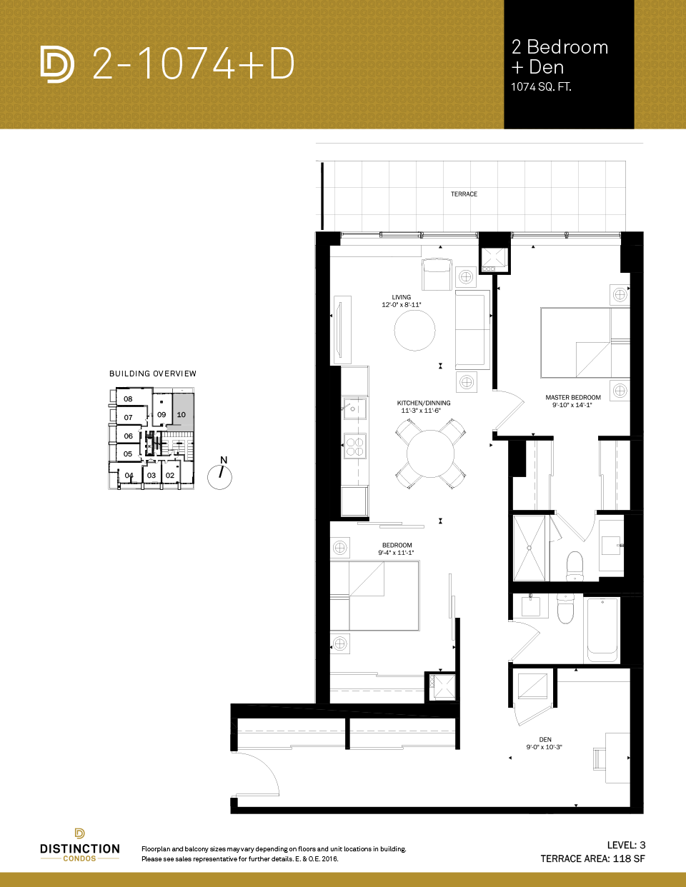 distinction condos floorplan 2-1074d