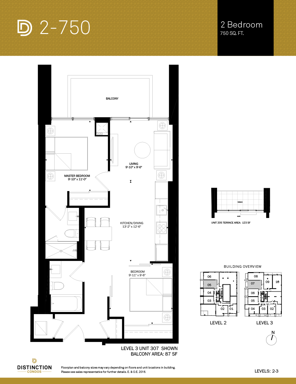 distinction condos floorplan 2-750