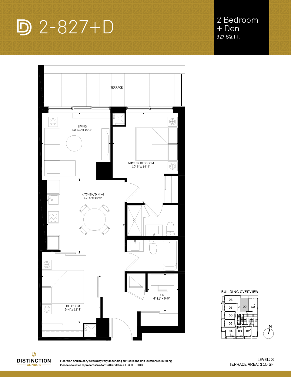 distinction condos floorplan 2-827d