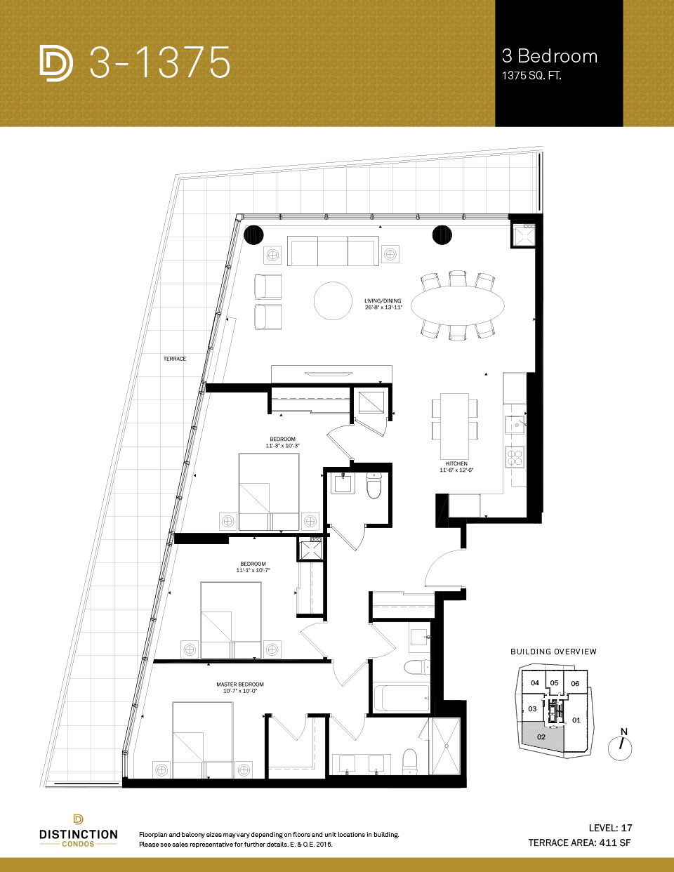 distinction condos floorplan 3-1375